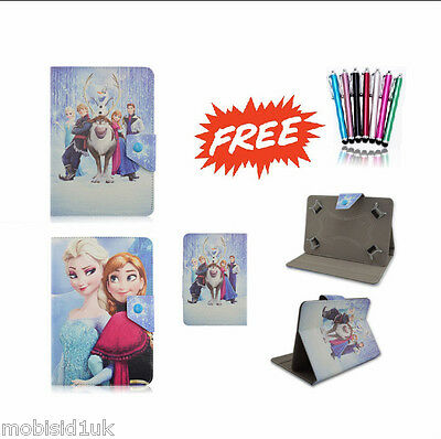"Frozen Elsa Family Universal Leather Stand Case Cover 9"" 9.7 Inch Android Tablet"