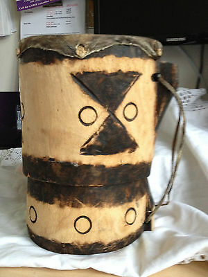 VINTAGE TRIBAL HAND CARVED WOODEN  DRUM POSSIBLY FROM AMAZON - Great.gift
