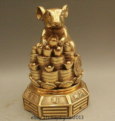 """8"""" Chinese Fengshui Brass Zodiac Year Mouse Coin Yuanbao Money Wealth Statue"""