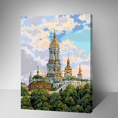 Painting by Number kit Castle England London City Building Blue Sky DIY YZ7507