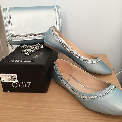 Quiz Shoes Size 8 With Matching Handbag Pale Blue