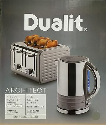 Dualit Architect Stainless Steel 1.5 L Kettle & 4 Slice Toaster Set