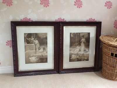 2 x Antique Sepia pictures.Reflections & Reveries/Herbert Horowitz Ornate Frames