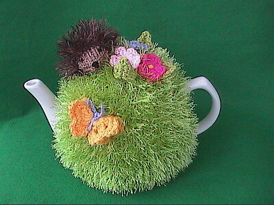 Hand Knit Hedgehog and Flowers Tea Cosy Small Size