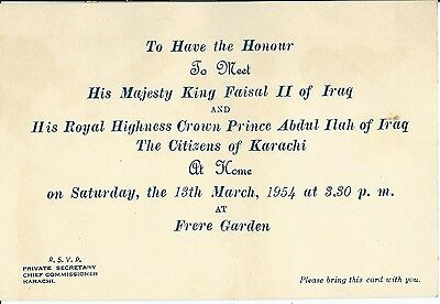"""Pakistan, Invitation From King Faisal Ii Of Iraq To An """"at Home"""", 1954"""