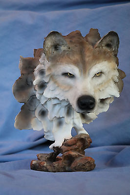"Wolf Head Bust With Piercing Eyes Statue Figurine 9"" Tall Resin Nice Collectible"