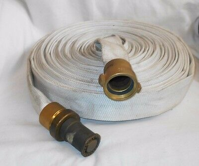 Used Fire Hose     Brass Ends     50 '     Brooks     250 PSI     Elkhart Brass