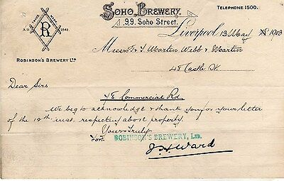 Robinson's Brewery Ltd., Soho Brewery, Liverpool - very old Billhead