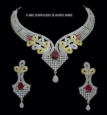 AD CZ Indian Ruby Necklace Bridal Wedding Jewellery Contume Earrings Set