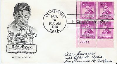 Scott 975 - Will Rogers FDC with Artmaster cachet Plate block