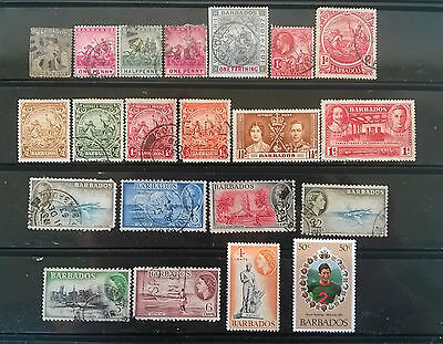 Barbados:small Collection Of 21 Vintage M/u Stamps (Qv - Qeii)  !!