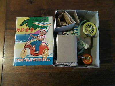 Wind-Up Tin Toy Tricycle With Bell MS 710 Made China MIB'  1970's