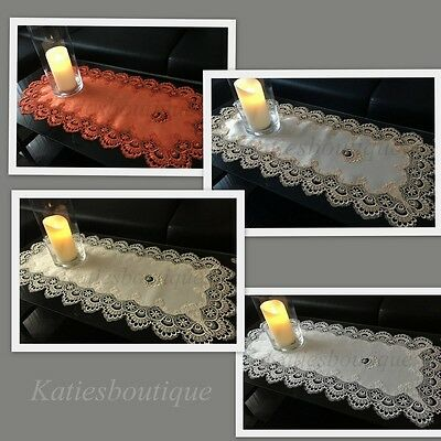 Table Runner Embroidered Table Cloth with Lace Table Home Decorations