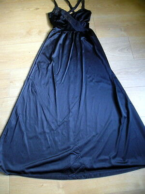 """Vintage Delicious Black Nightie Nightdress Full Length Lace Pippa Dee 34/36"""""""