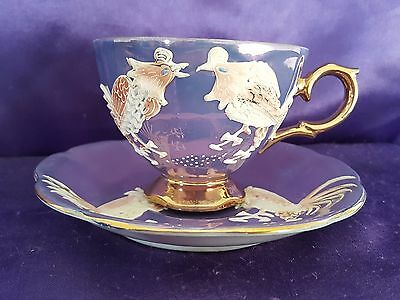 Vtg Shafford Purple Cockatrice Teacup Cup Saucer Set Hand Decorated Stunning!