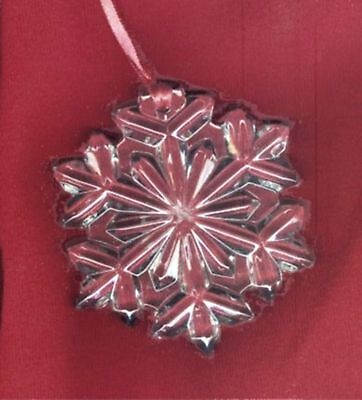Lenox Czech Lead Crystal Snowflake Ornament - Sparkling - w/ Red Hanging Ribbon