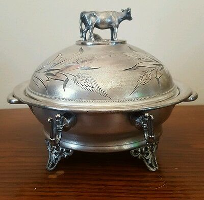 Victorian Simpson Hall Miller - Silver plate Dome Cow Butter Dish - Treble Plate