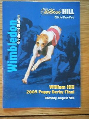 2005 ''puppy Derby Final'' Greyhound Racecard - Wimbledon