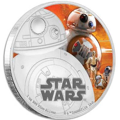 STAR WARS THE FORCE AWAKENS: BB8 2016 1oz SILVER PROOF COIN