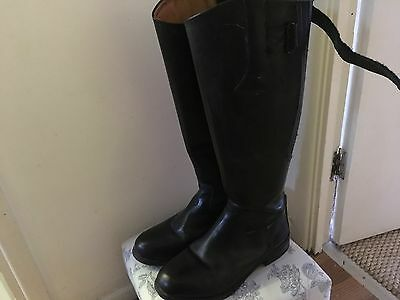 Black long leather riding boots size 5 VGC