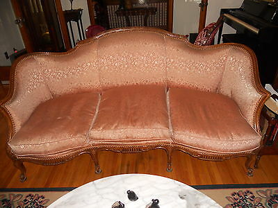Antique French Carved Couch Sofa with Down Cushions
