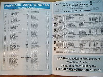 2000 Greyhound Oaks Final Racecard + Second Round Heats - Wimbledon