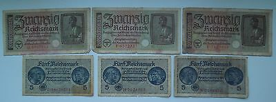 Germany 5,20 Reichsmark WW2 1940-45 (6 banknotes), ORIGINAL!