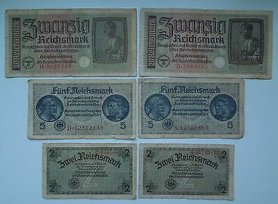 Germany 2,5,20 Reichsmark WW2 1940-45 (6 banknotes), ORIGINAL!