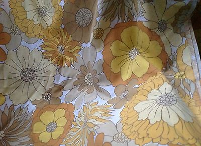 Vintage 1970s Flat Double Size Sheet Big Bold Flowers Yellow Brown Flower Power