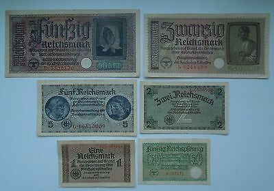 Germany 0,50;1,2,5,20,50 Reichsmark WW2 1940-45 (6 banknotes), ORIGINAL!
