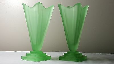 Art deco Bagley uranium  glass Wyndham vases