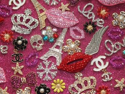 CandyCabsUK 10pcs Mixed Alloy Embellishments Bling Phone Cover DIY Kits Craft