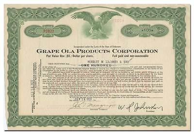 Grape Ola Products Corporation Stock Certificate (New York Soda Maker)
