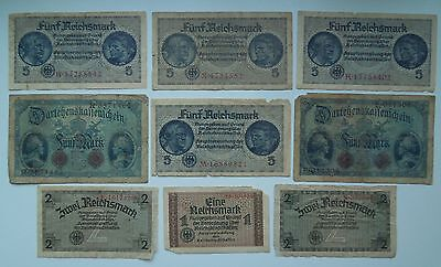Germany 1,2,5 Reichsmark WW2 1914-45 (9 banknoten), ORIGINAL!
