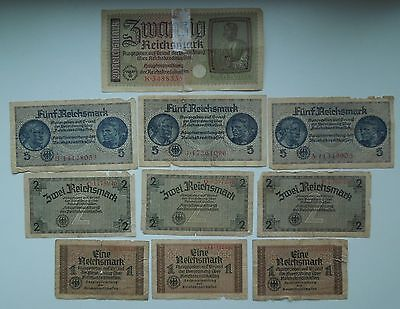Germany 1,2,5,20 Reichsmark WW2 1940-45 (10 banknoten), ORIGINAL!