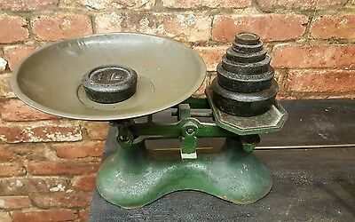 Vintage Cast Iron Kitchen Weighing Scales - With Weights