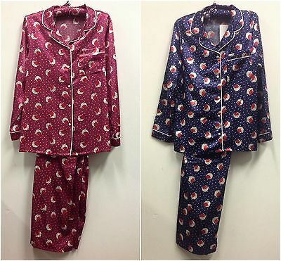Ladies Brush Satin Pyjama Set Uk Sizes 8-22 Red & Blue