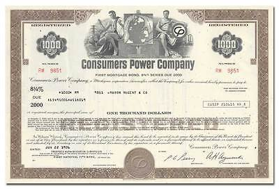 Consumers Power Company Bond Certificate