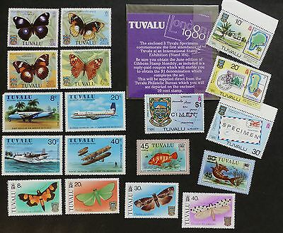 Tuvalu Mixed Selection of MNH Stamps (18 no.) incl Specimens London 1980 Stampex