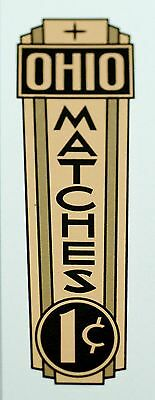 Ohio Matches, One Cent, Water Slide Decal # Do 1071 Coin Op