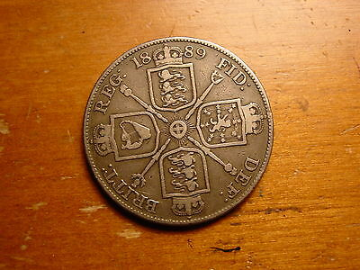 Lovely British Queen Victoria Double Florin Four Shillings Silver Coin 1889