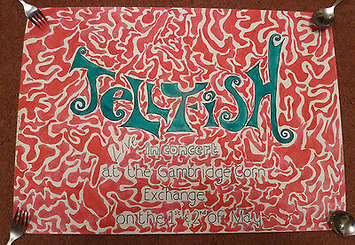 Orig A2 Concert Poster - JELLYFISH - UK Cambridge - band/indie/rock/psych