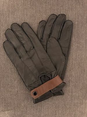 100% Leather Black And Brown Driving Gloves Size M
