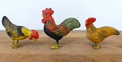 Antique 3 PUTZ GERMAN Christmas Tree Village Metal Feet Composition ROOSTERS