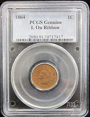 1864 1C Pcgs Genuine L On Ribbon