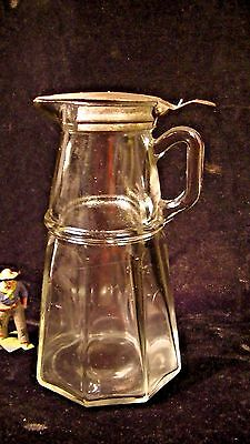 """Antique Glass 6"""" Syrup Pitcher  Spring Loaded Hinge Top"""