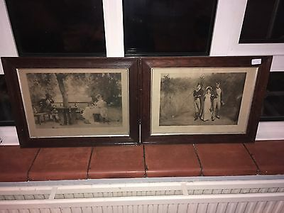 2 X Antique Prints 1904 1908 With Mahogany Frames