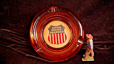 Union Pacific Railroad, Ashtray, Amber Stairstep Base, Old Glass Lot#5874a