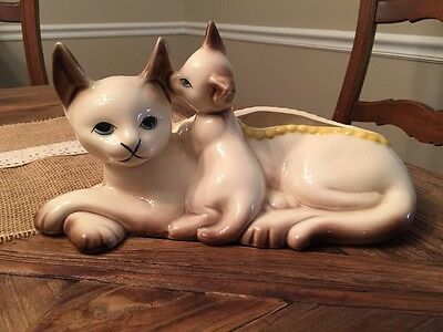 Vintage Hull Siamese Cat Planter Repaired As Is