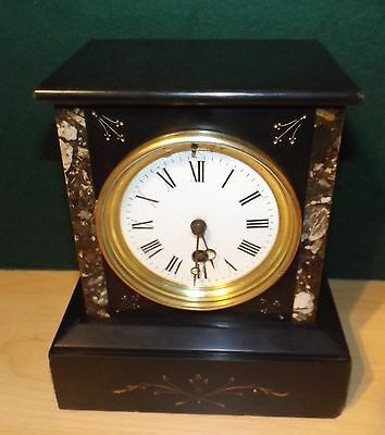 French slate timepiece serviced and cleaned date 1900s excellet very original